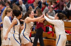 Housatonic's Madelynn Olownia (25) celebrates with teammate Anna Coon following their win over Northwestern to capture the Berkshire League tournament title Friday at Northwestern Regional High School in Winsted. Jim Shannon Republican American