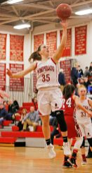 Pomperaug's Madison Villa (35) puts up a lay up during the second round of the Class L tournament Thursday night at Pomperaug High School. Pomperaug defeated Branford 60-44. Michael Kabelka / Republican-American.