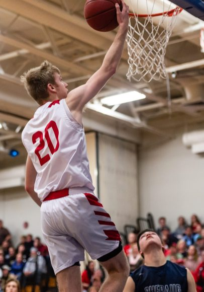 Wamogo's Garrett Sattazahn #20 lays the ball up for an easy basket, during the BL Conference Tournament Championship game between Shepaug and Wamogo at Lewis Mills High School in Burlington on Friday. Wamogo wins the BL Conference Championship after defeating Shepaug 74-47. Bill Shettle Republican-American