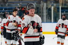 Watertown/Pomperaug's Trevor Davis #20 along with his teammates skate off the ice a final time this year after getting beat 4-1, in a Division II Hockey quarterfinal game between WMRP and Watertown/Pomperaug at Trinity College in Hartford on Friday. Bill Shettle Republican-American