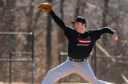 Pomperaug's J. T. Landgreb delivers a pitch during their scrimmage with Woodland Tuesday at Woodland Regional High School in Beacon Falls Jim Shannon Republican American