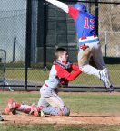 #3 Joey Grantmeyer of Northwestern Regional High tags #13 Jarrett Michaels of Nonnewaug High out at home after a long throw from center field during baseball action in Woodbury Monday. Steven Valenti Republican-American