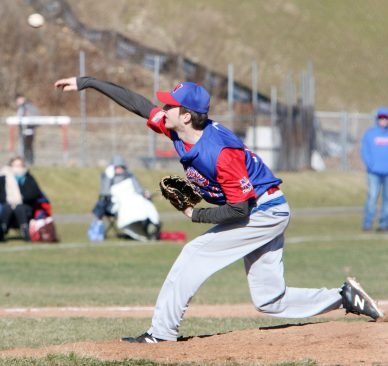 #16 Sam Williams of Nonnewaug High tosses a pitch against Northwestern Regional High during baseball action in Woodbury Monday. Steven Valenti Republican-American