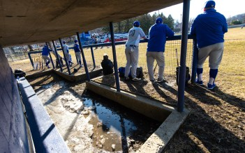 Despite the recent warmer temperatures, there was still ice inside the Gilbert dugout as they played Wamogo Wednesday at Walker Field in Winsted. Jim Shannon Republican American