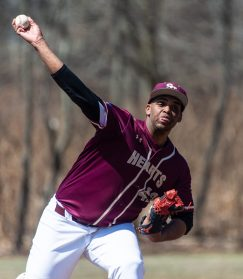Sacred Heart's Ernest McClary (42) delivers a pitch during their game against Notre Dame-Fairfield Saturday at Waterville Park in Waterbury. Jim Shannon Republican American