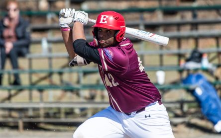 Sacred Heart's Ernest McClary (42) rips a base hit to begin a two-run rally in the top of the 7th inning during their game against Notre Dame-Fairfield Saturday at Waterville Park in Waterbury. Despite the two rind, the Hearts would fall 4-2. Jim Shannon Republican American
