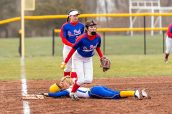 Seymour's Alyssa Johnson #3 lays on the ground after being tagged out by St Paul's Caleigh McDougal #18, diving into third base, during a girls NVL Softball game between St Paul and Seymour at Seymour High School in Seymour on Monday. Bill Shettle Republican-American