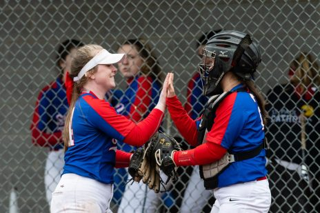 St Paul Pitcher Ava Hampton #4, left, high fives her catcher Katrina Roy #26 after striking out a Seymour player to end the inning, during a girls NVL Softball game between St Paul and Seymour at Seymour High School in Seymour on Monday. Bill Shettle Republican-American