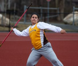 Thomaston's Lauren Gagne took first place in the javelin event during their Berkshire League meet with Housatonic Tuesday at Nystrom's Sports Complex in Thomaston. Heavy rains shortened the meet and Gagne was not able to compete in the discus, her best event. Jim Shannon Republican American