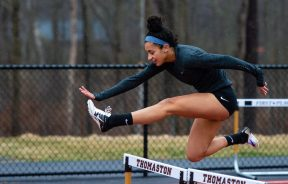 Housatonic's Sierra O'Niel took first place in the 300 meter hurdles during their Berkshire League meet with Thomaston Tuesday at Nystrom's Sports Complex in Thomaston. Jim Shannon Republican American
