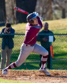 Seymour's Tristan Crelan (1) hits a pop fly to right field that was miss-played giving the Greyhounds a 1-0 lead during their game against Seymour Wednesday at French Memorial Park in Seymour. Naugatuck would go on to win 5-1. Jim Shannon Republican American