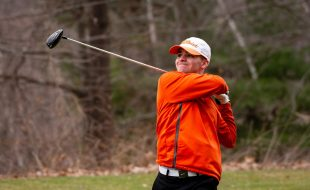 Watertown's Dave Aquavia tees off on 15th hole during their match with Watertown Thursday at Crestbrook Park in Watertown. Jim Shannon Republican American