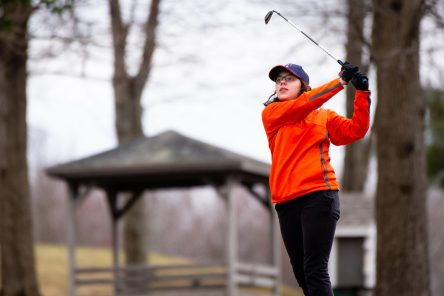 Watertown's Hayley Zemaitis tees off on the 14th hole during their match with Torrington Thursday at Crestbrook Park in Watertown. Jim Shannon Republican American