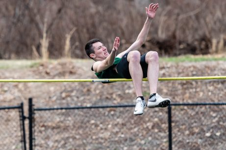 """Holy Cross' Aidan Nixon clears the bar at 5'8"""", equally his best this year, in the high jump competition, during a a NVL Track and Field meet between Holy Cross, Oxford, and Seymour at Holy Cross High School in Waterbury on Friday. Bill Shettle Republican-American"""
