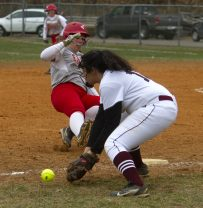 Wolcott #19 Aly Garofolo slides safely to 3rd as Torrington #18 Madi McLaughlin tries to make the out Friday afternoon at Torrington. Wolcott won 20-2. Jonathan Wilcox Republican-American