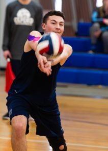 Oxford's Ryan Reynolds (3) bumps the ball during their match with Joel Barlow Monday at Oxford High School. Jim Shannon Republican American