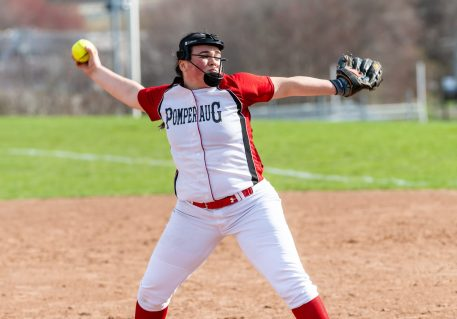 Pomperaug pitcher Ella McCasland #34 winds up for a pitch, during a Girls SWC Softball game between Newtown and Pomperaug at Pomperaug High School in Southbury on Wednesday. Bill Shettle Republican-American