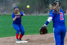 Nonnewaug's Brianna Hynds #5, left, waits on a ball thrown to her by teammate Julia Lawlor #2 to end the inning, during a Girls BL Softball game between Wamogo and Nonnewag at Nonnewaug High School in Woodbury on Thursday. Bill Shettle Republican-American