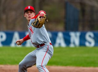 Northwestern's Drew Warren (21) delivers a pitch during their game against Shepaug Thursday at Tex Alex Field in Washington. Jim Shannon Republican American