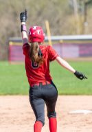 Wamogo's Makenzie Harnett #6 reacts rounding the bases after hitting the second of back to back home runs by Wamogo, during a Girls BL Softball game between Northwestern and Wamogo at Wamogo High School in Litchfield on Wednesday. coach Dave Silvester Bill Shettle Republican-American