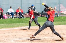 Northwestern pitcher Lexi Fortier #11 winds up for a pitch to the plate, during a Girls BL Softball game between Northwestern and Wamogo at Wamogo High School in Litchfield on Wednesday. Northwestern beat their rival Wamogo 9-5. Bill Shettle Republican-American