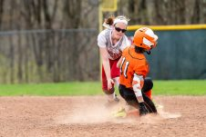 Terryville's Allie Michaud #11 slides safely into second ahead of the tag by Wolcott's Katie Cosmos #7, during a NVL Girls softball game between Terryville and Wolcott at Wolcott High School in Wolcott on Thursday. Bill Shettle Republican-American