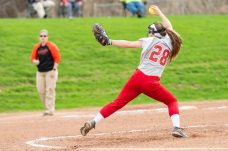 Wolcott pitcher Kaitlyn Ouellette #28 winds up for a pitch to home plate, during a NVL Girls softball game between Terryville and Wolcott at Wolcott High School in Wolcott on Thursday. Bill Shettle Republican-American