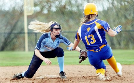 #27 Maddie Sastram of Oxford High tags out #13 Riley Bronson of Seymour High at 2nd during softball action in Oxford Monday. Steven Valenti Republican-American