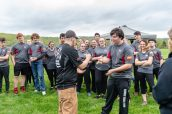 Woodland captain senior Derek Janikas, left, and Wamogo's Alec Lavigne play rock, paper, and scissors, instead of having a coin toss, during a Timber team competition between Wamogo and Woodland at Woodland Regional High School in Beacon Falls on Friday. Bill Shettle Republican-American