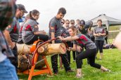 Wamogo senior Mackenzie Ferrier speedily uses a bow saw to cut through a log, during a Timber team competition between Wamogo and Woodland at Woodland Regional High School in Beacon Falls on Friday. Bill Shettle Republican-American