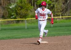 Wolcott's Jeff Nicol #11 rounds the bases after hitting back to back home-runs, during a NVL Baseball game between Watertown and Wolcott at Wolcott High School in Wolcott on Wednesday. Bill Shettle Republican-American