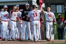 Wolcott's Jeff Nicol #11 celebrates with his teammates at home plate, after hitting back to back home-runs, during a NVL Baseball game between Watertown and Wolcott at Wolcott High School in Wolcott on Wednesday. Bill Shettle Republican-American