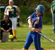 Seymour's Morgan Teodosio (21) takes a swing while at bay during their NVL game against Holy Cross Thursday at Holy Cross High School. Jim Shannon Republican American