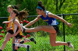 Housatonic's Sierra O'Niel competes in the 300m hurdles during Berkshire League Track and Field Championships Saturday at Litchfield High School. Jim Shannon Republican American
