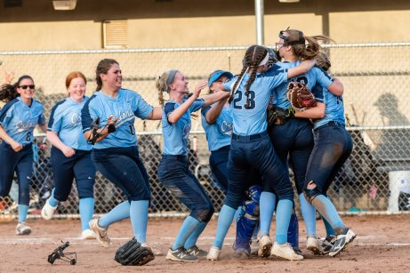 Oxford players run out onto the field celebrating after winning the Girls Softball NVL Championship game between Oxford and Seymour at Naugatuck High School in Naugatuck on Thursday. Oxford won in extra innings over Seymour 11-6 and wins the NVL Championship for 2019. Bill Shettle Republican-American