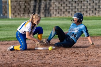 Seymour's Alyssa Johnson #3, left, can't hold onto the ball as Oxford's Kaylee Dolan slides into second base, during a Girls Softball NVL Championship game between Oxford and Seymour at Naugatuck High School in Naugatuck on Thursday. Oxford won in extra innings over Seymour 11-6 and wins the NVL Girls Softball Championship for 2019. Bill Shettle Republican-American
