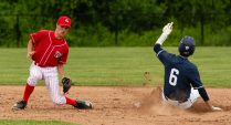 Oxford's Jake Biondo (6) safely steals second base as Wamogo's Colin Ferrer (9) scoop up the ball after the throw was short during their Class S tournament game Wednesday at Oxford High School. Jim Shannon Republican American