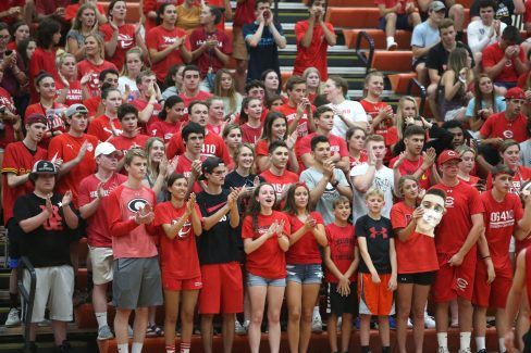 Cheshire fans cheer as Cheshire High School battles Newington High School for the Class M boys volleyball title at Shelton High School on Thursday, June 6, 2019. Emily J. Reynolds. Republican-American