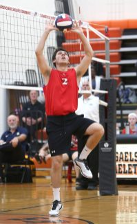 Cheshire High School's Luke Pinciaro bumps the ball as Cheshire battles Newington High School for the Class M boys volleyball title at Shelton High School on Thursday, June 6, 2019. Emily J. Reynolds. Republican-American