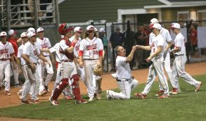 Members of the Wolcott High School baseball team congratulate each other on a strong inning during the boys Class M baseball final on Palmer Field in Middletown against St. Joseph High School on Saturday, June 8, 2019. Emily J. Reynolds. Republican-American