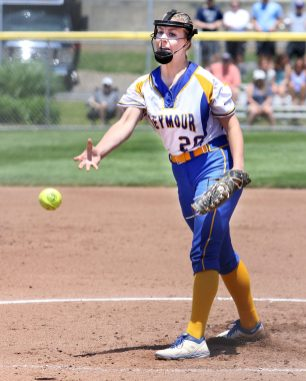 #20 Molly Adamo of Seymour High pitches against Waterford during the CIAC Class M softball final in West Haven Saturday. Steven Valenti Republican-American