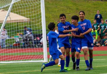 Crosby soccer players # 9 Anthony Vargas, #4 Luis Raya-Hernandez, #14 Junior Bravo, and Mostafa Mabrouk celebrate the goal against Wilby during the Waterbury Soccer Jamboree Saturday morning at Crosby. Jonathan Wilcox Republican-American