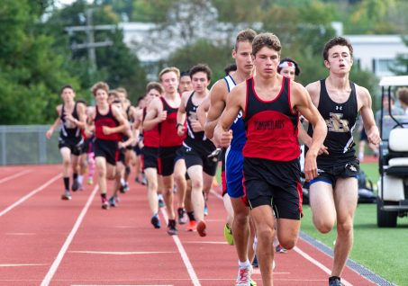 Pomperaug's Trey Generali took an early lead and never lost in finishing with a time of 18:15 during their meet with Bunnell, Joel Barlow and Notre Dame-Fairfield Tuesday at Pomperaug High School. Jim Shannon Republican-American