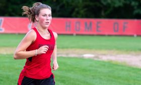 Pomperaug's Maddie Villa finished in second place in their cross country meet with Bunnell, Joel Barlow and Notre Dame-Fairfield Tuesday at Pomperaug High School. Jim Shannon Republican-American