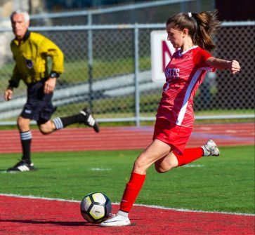 Wolcott's Jenna Tracey (5) scores a goal in their win over OxfordTuesday at Wolcott High School Jim Shannon Republican-American