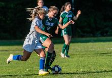 Chase's Paige Cumale #18, right, battles with Williams' Sarah Cole #10 for control of the ball, during a soccer match between Williams and Chase Collegiate at Chase Collegiate on Wednesday. Bill Shettle Republican-American