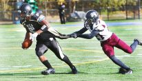 #5 Jalen Gopie of Waterbury Career Academy looks for yardage as #27 Zakye Smith of Torrington High grabs the jersey during football action in Waterbury Thursday. Steven Valenti Republican-American