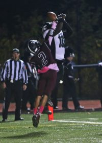 Torrington High School's Rangel Pascual breaks up a pass in the endzone to Wilby High School's DaShaun Wilson during the boys varsity football game in Torrington on Friday, Oct. 25, 2019. Emily J. Tilley. Republican-American