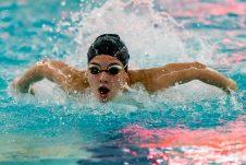 Kelti Johnson practices her butterfly stroke, during swim practice at Seymour High School on Thursday. Bill Shettle Republican-American