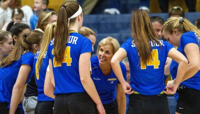 Seymour Volleyball team coach Cathy Federowicz talks with her team while they play Waterford Saturday afternoon during the Class M volleyball final at East Haven High School. Jonathan Wilcox Republican-American